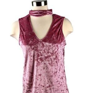 Tart mock neck pink crushed velvet tank top